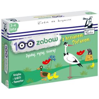 Kapitan Nauka 100 zabaw z bocianem Stefanem 3-4 lata (Książka + 30 ścieralnych kart + flamaster)