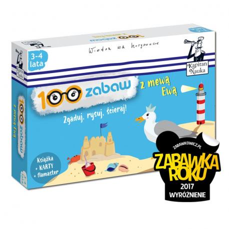 Kapitan Nauka. 100 zabaw z mewą Ewą 3-4 lata (Książka + 30 ścieralnych kart + flamaster)
