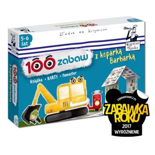 Kapitan Nauka 100 zabaw z koparką Barbarką (5-6 lat) Nowa edycja (Książka + 30 dwustronnych zmywalnych kart + flamaster)
