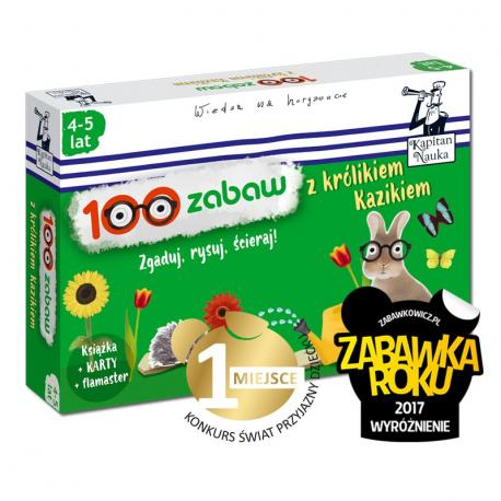 Kapitan Nauka. 100 zabaw z królikiem Kazikiem 4-5 lat (Książka + 30 ścieralnych kart + flamaster)