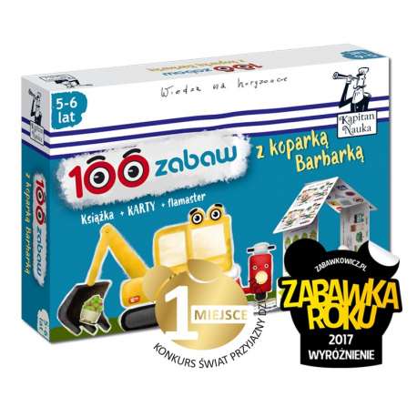 Kapitan Nauka. 100 zabaw z koparką Barbarką 5-6 lat  Nowa edycja (Książka + 30 dwustronnych zmywalnych kart + flamaster)