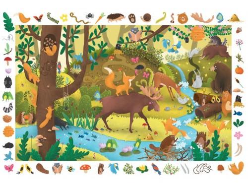 Kapitan Nauka. Puzzle obserwacyjne. Zwierzęta leśne 4+ (54 elementy + plakat XXL)