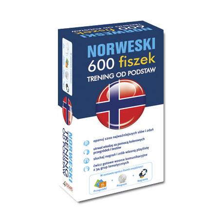 Norweski 600 fiszek Trening od podstaw +CD (600 fiszek + CD-ROM z programem Fiszki mp3 i nagraniami MP3 + Kolorowe przegródki)