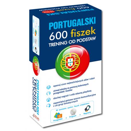 Portugalski 600 fiszek Trening od podstaw +CD  (600 fiszek + CD-ROM z programem Fiszki mp3 i nagraniami MP3 + Kolorowe przegródki)