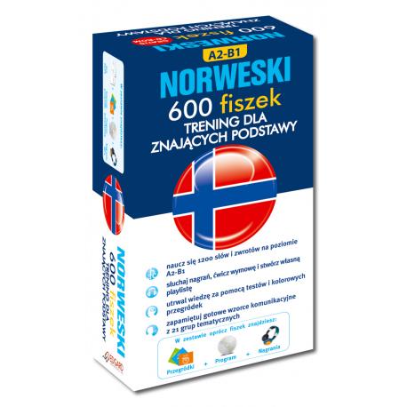 Norweski 600 fiszek Trening dla znających podstawy +CD (600 fiszek + CD-ROM z programem Fiszki mp3 i nagraniami MP3 + Kolorowe przegródki)