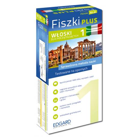 Włoski Fiszki PLUS dla początkujących 1  (600 fiszek + program i nagrania do pobrania + kolorowe przegródki + etui)