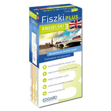 Angielski Fiszki PLUS dla początkujących 3 (600 fiszek + program i nagrania do pobrania + kolorowe przegródki + etui)