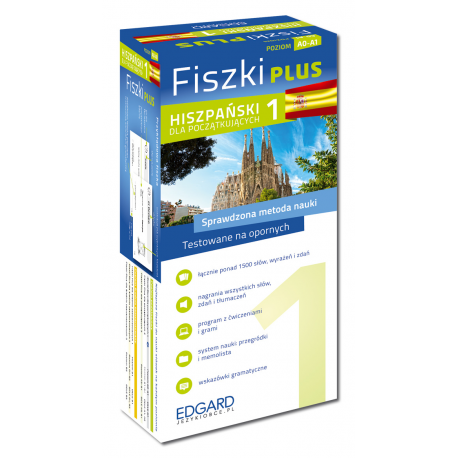 Hiszpański Fiszki PLUS dla początkujących 1 (600 fiszek + program i nagrania do pobrania + kolorowe przegródki + etui)