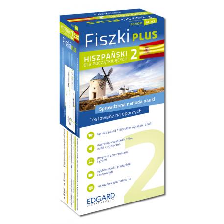 Hiszpański Fiszki PLUS dla początkujących 2  (600 fiszek + program i nagrania do pobrania + kolorowe przegródki + etui)