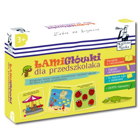 Kapitan Nauka. Łamigłówki dla przedszkolaka 3+ (Poradnik dla opiekunów + zagadki obrazkowe + karty z ćwiczeniami + flamaster)