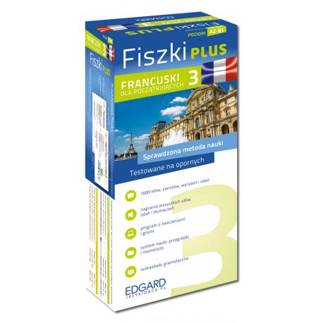 Francuski Fiszki PLUS dla początkujących 3  (600 fiszek + program i nagrania do pobrania + kolorowe przegródki + etui)