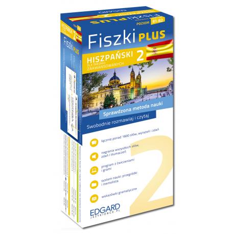 Hiszpański Fiszki PLUS dla średnio zaawansowanych 2  (600 fiszek + program i nagrania do pobrania + kolorowe przegródki + etui)