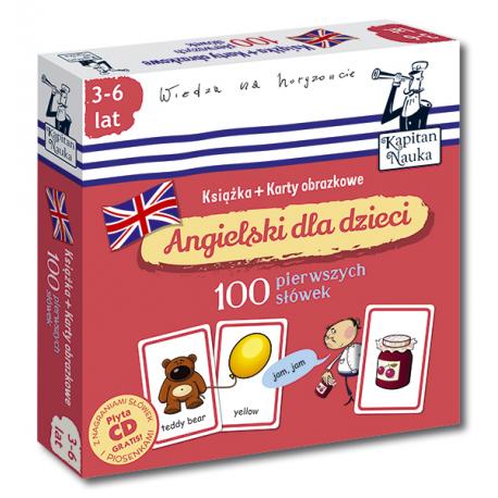 Kapitan Nauka Angielski dla dzieci 100 pierwszych słówek (Książka + 104 karty obrazkowe + płyta CD)