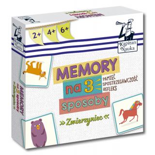 Kapitan Nauka. Memory na 3 sposoby. Zwierzyniec  2+, 4+, 6+ (Karty obrazkowe do gry + instrukcja)